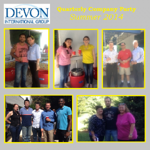 Devon International Group employees get together to socialize at the quarterly company party